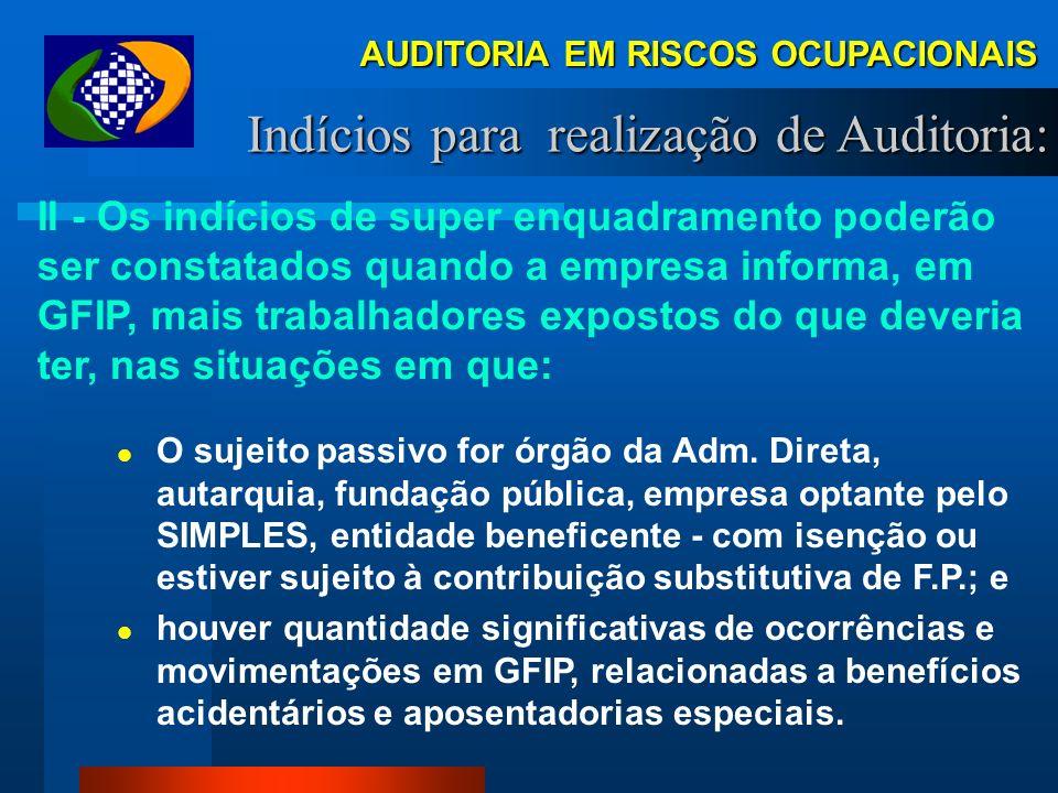AUDITORIA EM RISCOS OCUPACIONAIS Indícios para realização de Auditoria: nas decisões judiciais que reconhecem direitos a benefícios acidentários e apo