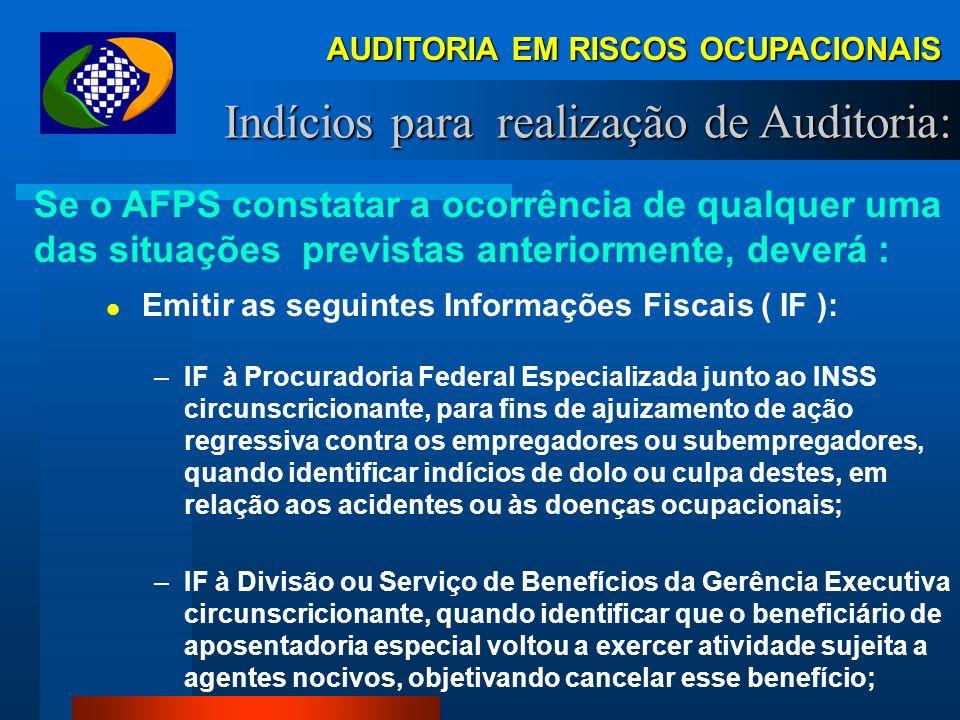 AUDITORIA EM RISCOS OCUPACIONAIS Indícios para realização de Auditoria: Se o AFPS constatar a ocorrência de qualquer uma das situações previstas anter