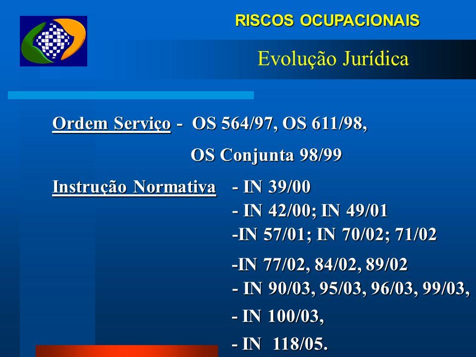 RISCOS OCUPACIONAIS Evolução Jurídica Ordem Serviço - OS 564/97, OS 611/98, Ordem Serviço - OS 564/97, OS 611/98, OS Conjunta 98/99 OS Conjunta 98/99 Instrução Normativa - IN 39/00 Instrução Normativa - IN 39/00 - IN 42/00; IN 49/01 - IN 42/00; IN 49/01 -IN 57/01; IN 70/02; 71/02 -IN 57/01; IN 70/02; 71/02 -IN 77/02, 84/02, 89/02 -IN 77/02, 84/02, 89/02 - IN 90/03, 95/03, 96/03, 99/03, - IN 90/03, 95/03, 96/03, 99/03, - IN 100/03, - IN 100/03, - IN 118/05.