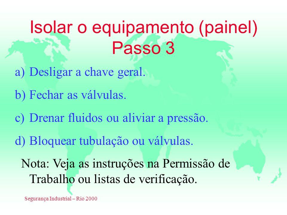 Segurança Industrial – Rio 2000 Isolar o equipamento (painel) Passo 3 a)Desligar a chave geral. b)Fechar as válvulas. c)Drenar fluidos ou aliviar a pr