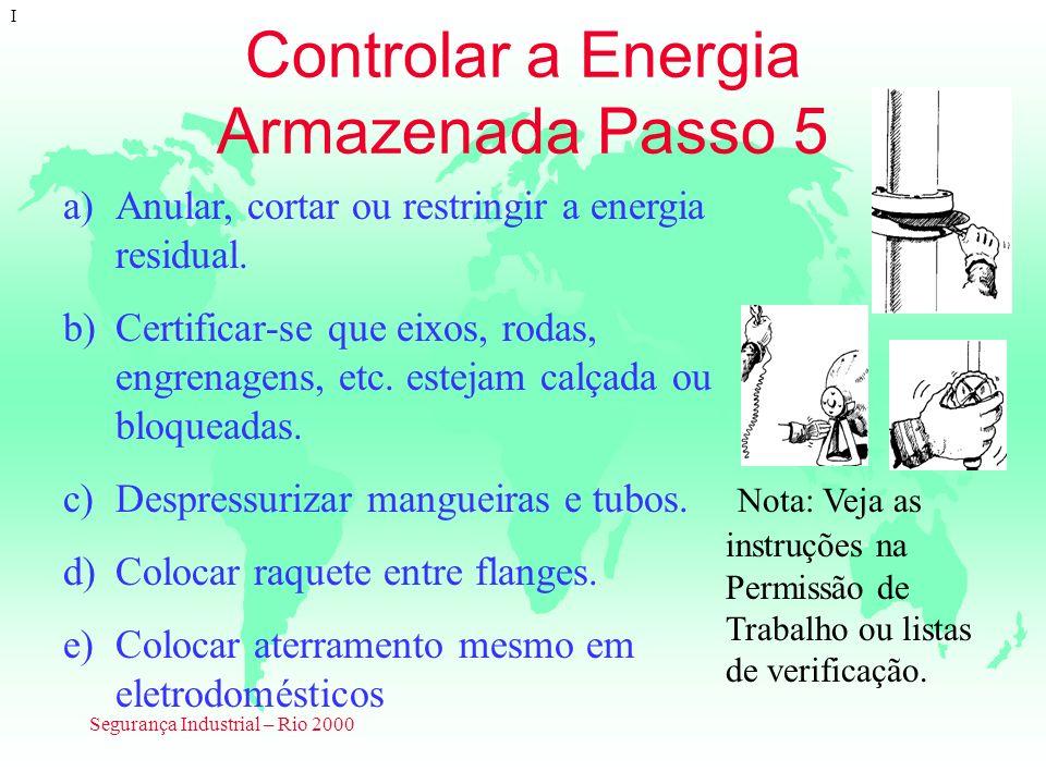 Segurança Industrial – Rio 2000 Controlar a Energia Armazenada Passo 5 I a)Anular, cortar ou restringir a energia residual. b)Certificar-se que eixos,