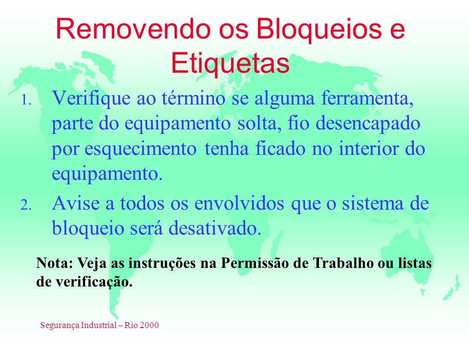 Segurança Industrial – Rio 2000 Removendo os Bloqueios e Etiquetas 1. Verifique ao término se alguma ferramenta, parte do equipamento solta, fio desen