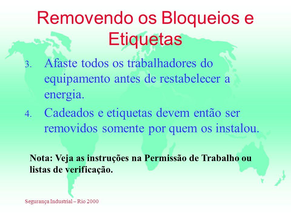 Segurança Industrial – Rio 2000 Removendo os Bloqueios e Etiquetas 3. Afaste todos os trabalhadores do equipamento antes de restabelecer a energia. 4.
