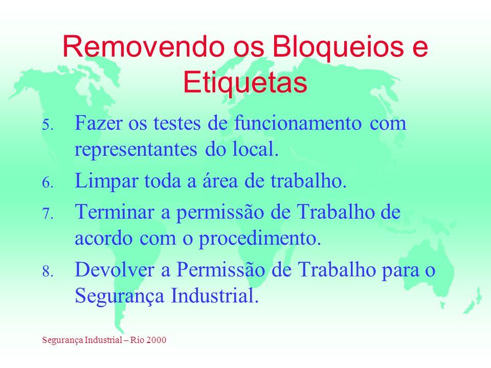 Segurança Industrial – Rio 2000 Removendo os Bloqueios e Etiquetas 5. Fazer os testes de funcionamento com representantes do local. 6. Limpar toda a á