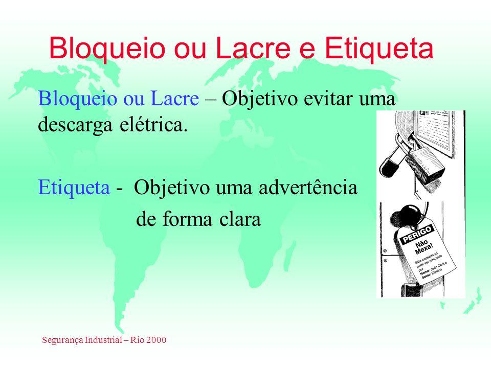Segurança Industrial – Rio 2000 Bloqueio ou Lacre e Etiqueta Bloqueio ou Lacre – Objetivo evitar uma descarga elétrica. Etiqueta - Objetivo uma advert