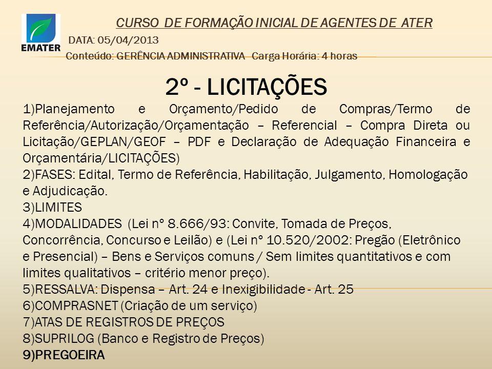 CURSO DE FORMAÇÃO INICIAL DE AGENTES DE ATER DATA: 05/04/2013 Conteúdo: GERÊNCIA ADMINISTRATIVA Carga Horária: 4 horas 2º - LICITAÇÕES 1)Planejamento