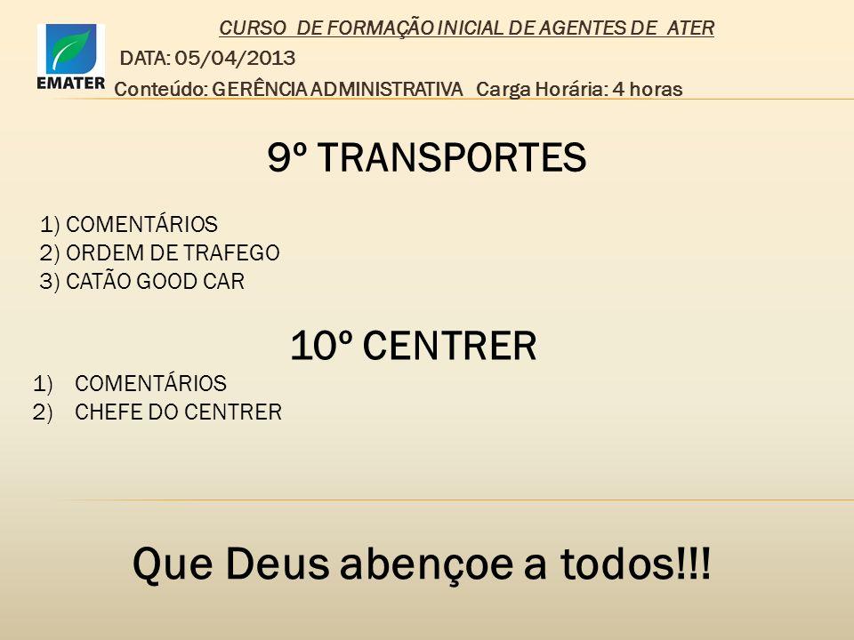 CURSO DE FORMAÇÃO INICIAL DE AGENTES DE ATER DATA: 05/04/2013 Conteúdo: GERÊNCIA ADMINISTRATIVA Carga Horária: 4 horas 9º TRANSPORTES 1) COMENTÁRIOS 2
