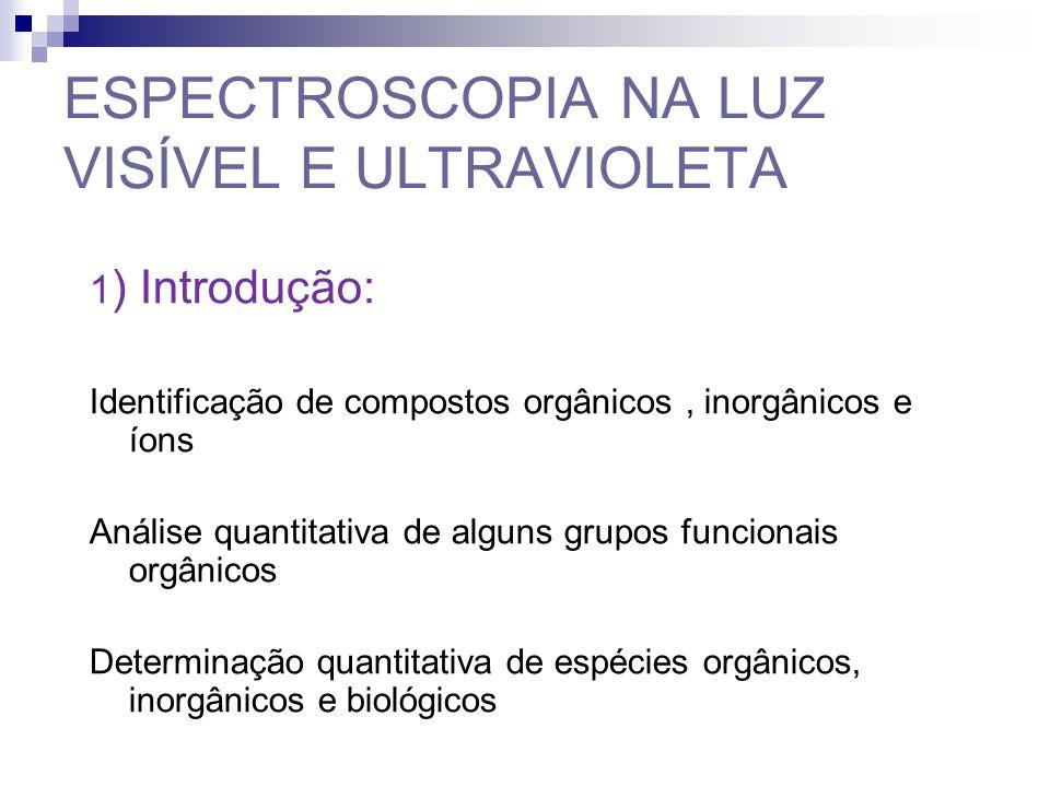 1 ) Introdução: Identificação de compostos orgânicos, inorgânicos e íons Análise quantitativa de alguns grupos funcionais orgânicos Determinação quantitativa de espécies orgânicos, inorgânicos e biológicos