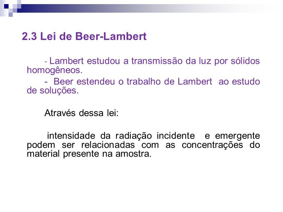 2.3 Lei de Beer-Lambert - Lambert estudou a transmissão da luz por sólidos homogêneos.