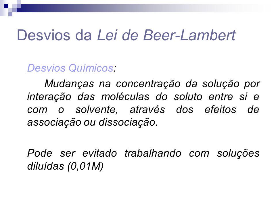Desvios da Lei de Beer-Lambert Desvios Químicos: Mudanças na concentração da solução por interação das moléculas do soluto entre si e com o solvente, através dos efeitos de associação ou dissociação.