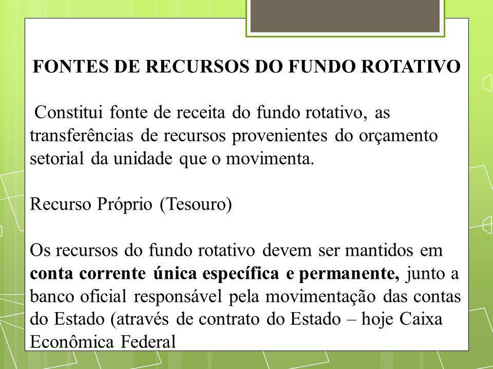 FONTES DE RECURSOS DO FUNDO ROTATIVO Constitui fonte de receita do fundo rotativo, as transferências de recursos provenientes do orçamento setorial da