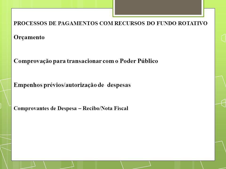 PROCESSOS DE PAGAMENTOS COM RECURSOS DO FUNDO ROTATIVO Orçamento Comprovação para transacionar com o Poder Público Empenhos prévios/autorização de des