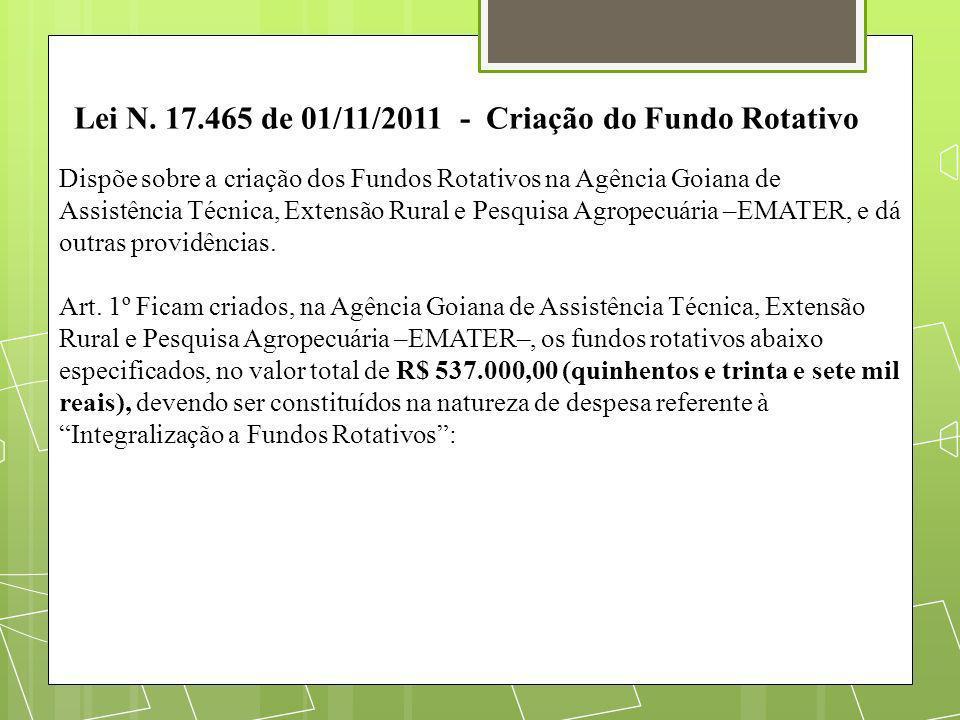 Lei N. 17.465 de 01/11/2011 - Criação do Fundo Rotativo Dispõe sobre a criação dos Fundos Rotativos na Agência Goiana de Assistência Técnica, Extensão