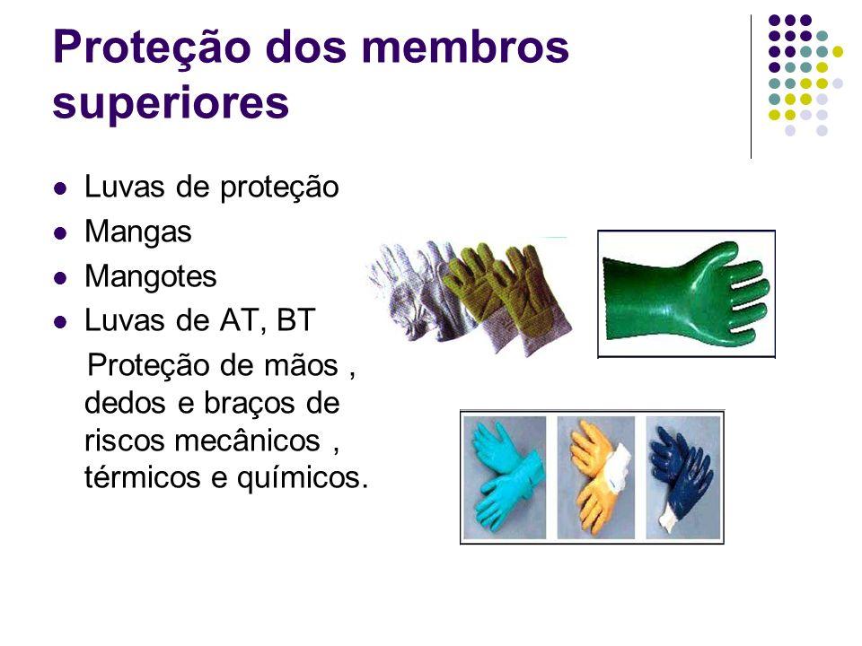 Proteção dos membros superiores Luvas de proteção Mangas Mangotes Luvas de AT, BT Proteção de mãos, dedos e braços de riscos mecânicos, térmicos e quí
