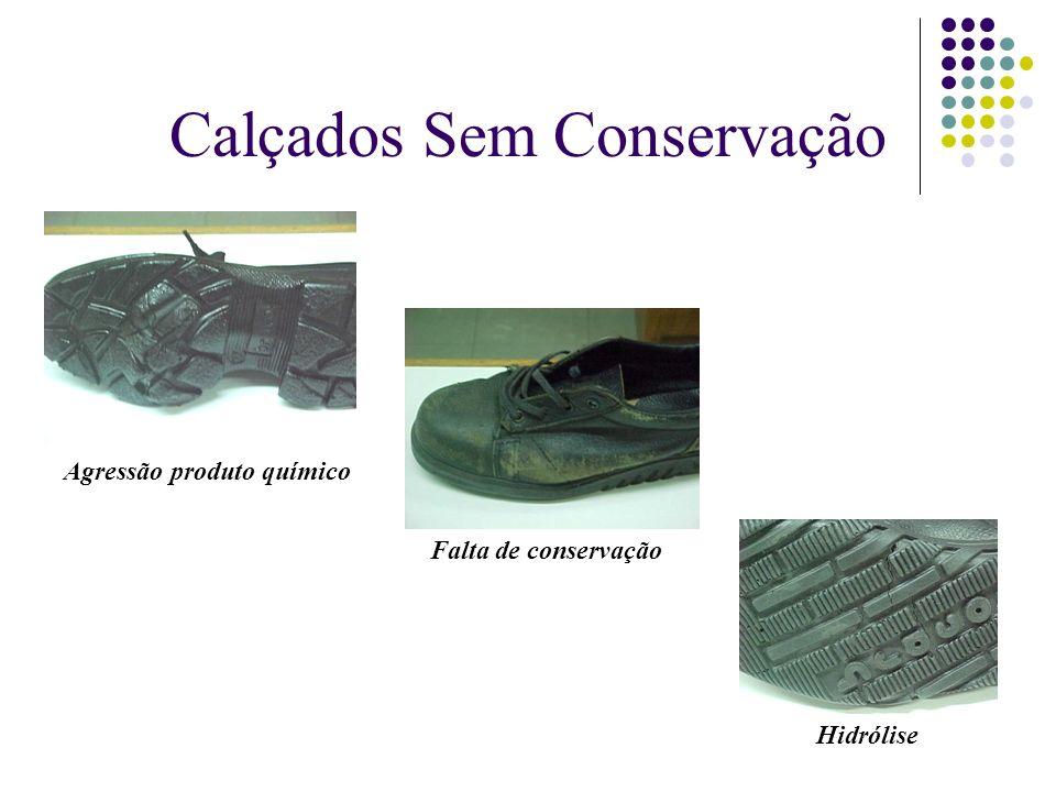 Calçados Sem Conservação Agressão produto químico Falta de conservação Hidrólise