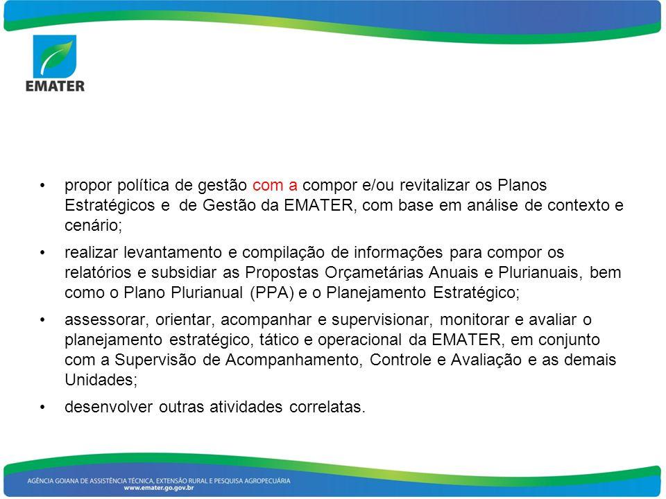 propor política de gestão com a compor e/ou revitalizar os Planos Estratégicos e de Gestão da EMATER, com base em análise de contexto e cenário; realizar levantamento e compilação de informações para compor os relatórios e subsidiar as Propostas Orçametárias Anuais e Plurianuais, bem como o Plano Plurianual (PPA) e o Planejamento Estratégico; assessorar, orientar, acompanhar e supervisionar, monitorar e avaliar o planejamento estratégico, tático e operacional da EMATER, em conjunto com a Supervisão de Acompanhamento, Controle e Avaliação e as demais Unidades; desenvolver outras atividades correlatas.