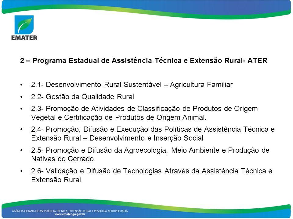 2 – Programa Estadual de Assistência Técnica e Extensão Rural- ATER 2.1- Desenvolvimento Rural Sustentável – Agricultura Familiar 2.2- Gestão da Qualidade Rural 2.3- Promoção de Atividades de Classificação de Produtos de Origem Vegetal e Certificação de Produtos de Origem Animal.