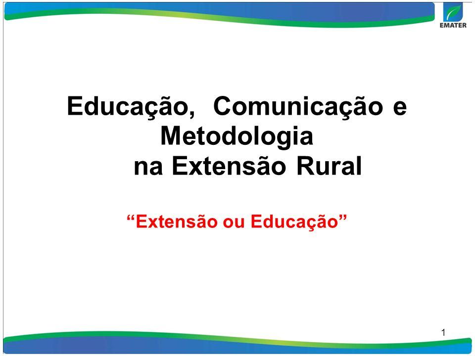 1 Educação, Comunicação e Metodologia na Extensão Rural Extensão ou Educação