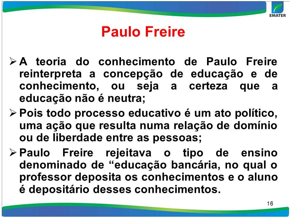 Paulo Freire A teoria do conhecimento de Paulo Freire reinterpreta a concepção de educação e de conhecimento, ou seja a certeza que a educação não é n