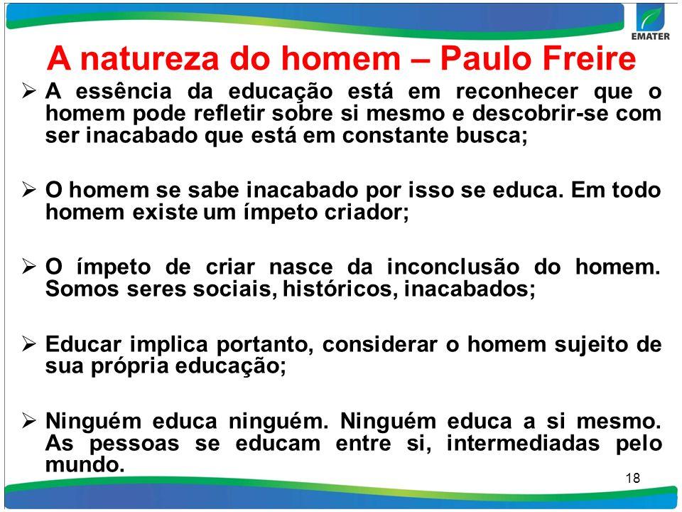 A natureza do homem – Paulo Freire A essência da educação está em reconhecer que o homem pode refletir sobre si mesmo e descobrir-se com ser inacabado