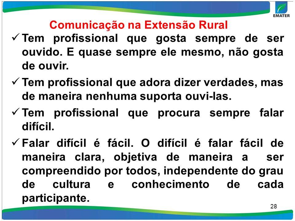 Comunicação na Extensão Rural Tem profissional que gosta sempre de ser ouvido. E quase sempre ele mesmo, não gosta de ouvir. Tem profissional que ador