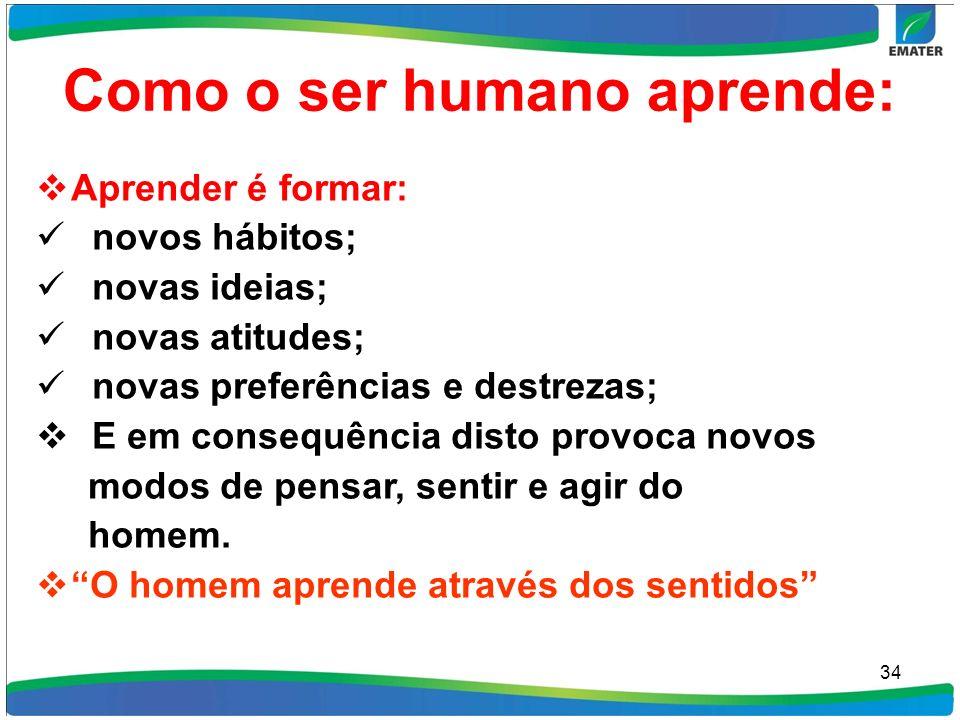 Como o ser humano aprende: Aprender é formar: novos hábitos; novas ideias; novas atitudes; novas preferências e destrezas; E em consequência disto pro