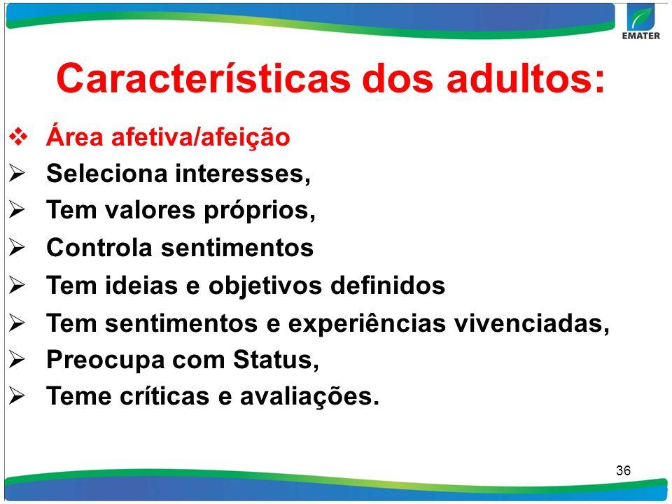 Características dos adultos: Área afetiva/afeição Seleciona interesses, Tem valores próprios, Controla sentimentos Tem ideias e objetivos definidos Te