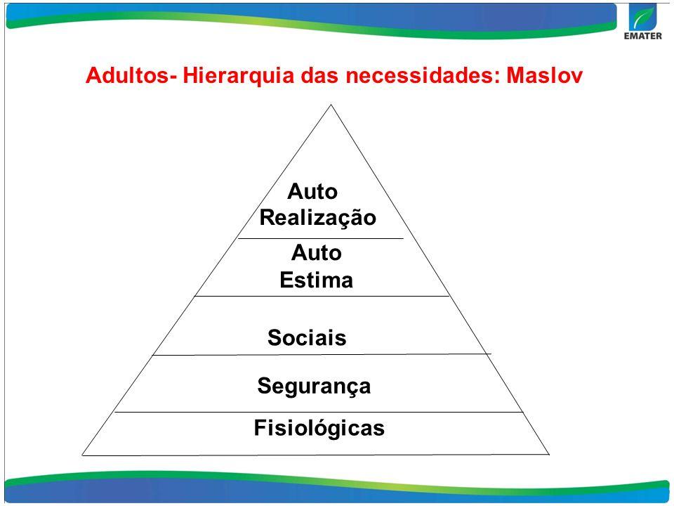 Adultos- Hierarquia das necessidades: Maslov Auto Realização Sociais Segurança Fisiológicas Auto Estima