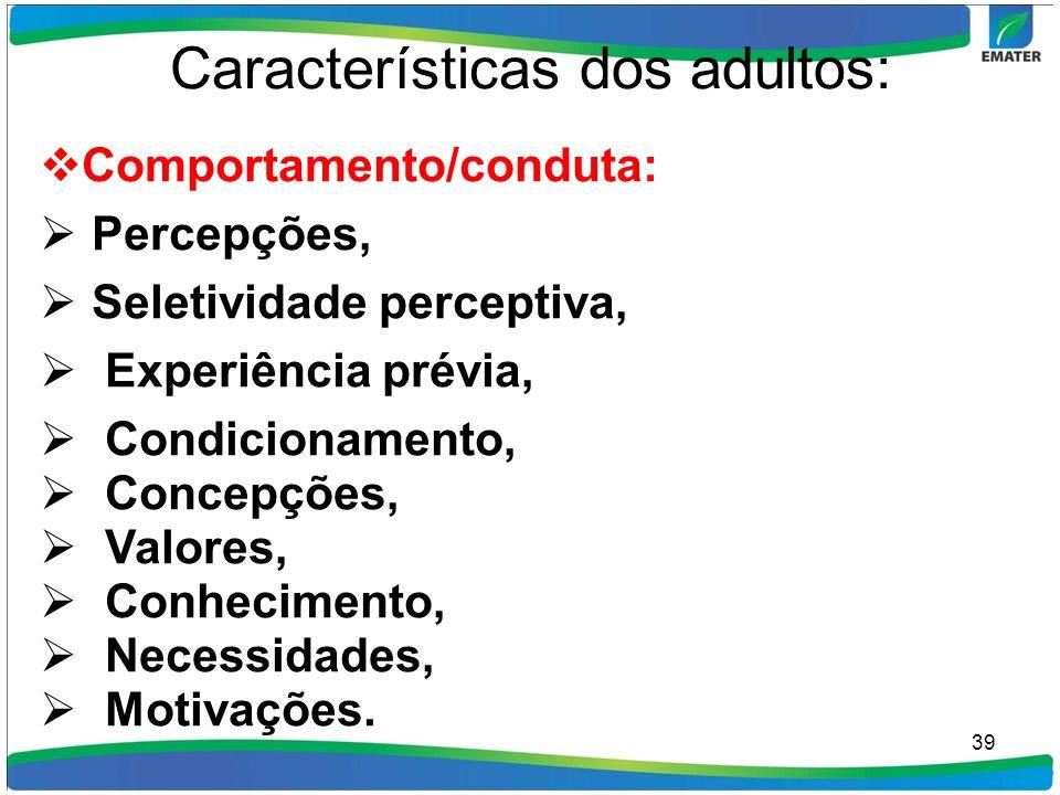 Características dos adultos: Comportamento/conduta: Percepções, Seletividade perceptiva, Experiência prévia, Condicionamento, Concepções, Valores, Con