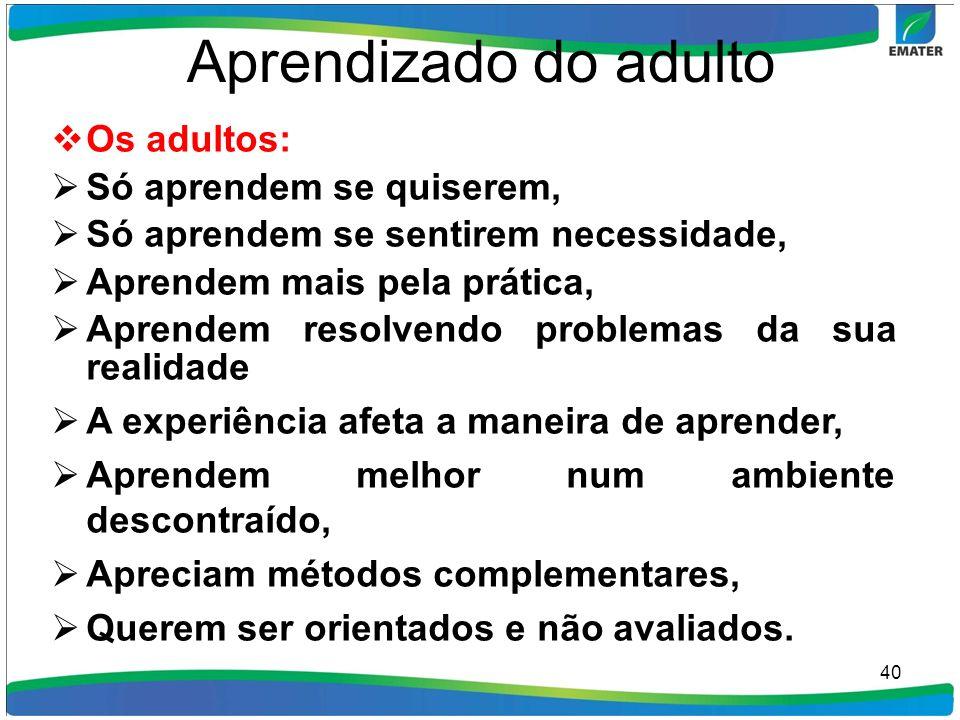 Aprendizado do adulto Os adultos: Só aprendem se quiserem, Só aprendem se sentirem necessidade, Aprendem mais pela prática, Aprendem resolvendo proble