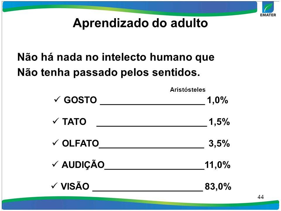 Aprendizado do adulto Não há nada no intelecto humano que Não tenha passado pelos sentidos. Aristósteles GOSTO ____________________ 1,0% TATO ________