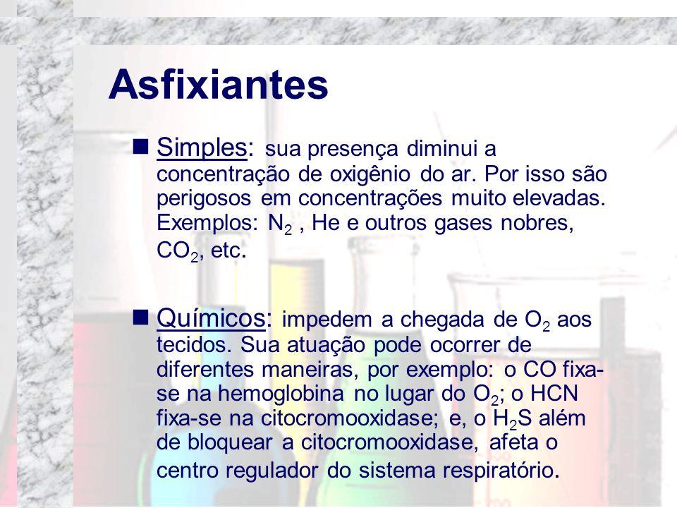 Asfixiantes Simples: sua presença diminui a concentração de oxigênio do ar. Por isso são perigosos em concentrações muito elevadas. Exemplos: N 2, He