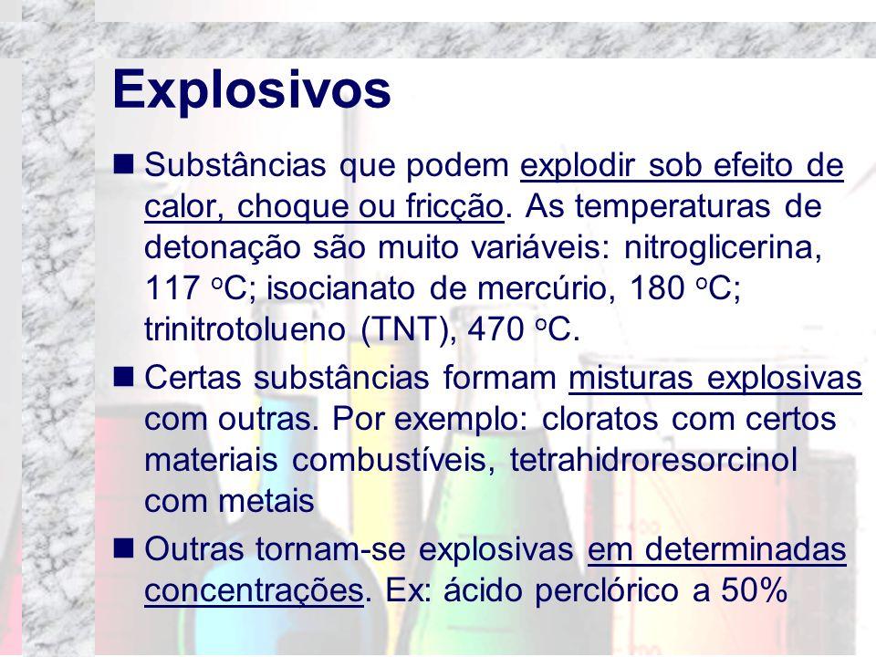 Explosivos Substâncias que podem explodir sob efeito de calor, choque ou fricção. As temperaturas de detonação são muito variáveis: nitroglicerina, 11