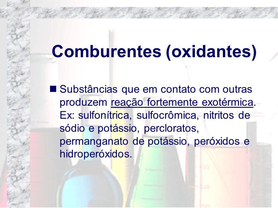 Comburentes (oxidantes) Substâncias que em contato com outras produzem reação fortemente exotérmica. Ex: sulfonítrica, sulfocrômica, nitritos de sódio