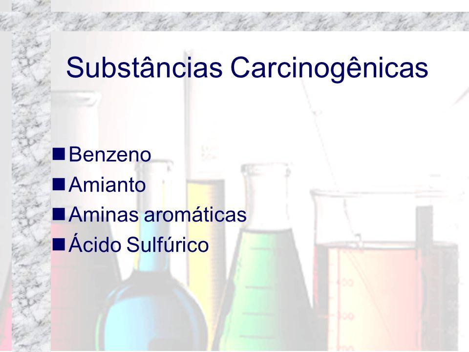 Substâncias Carcinogênicas Benzeno Amianto Aminas aromáticas Ácido Sulfúrico
