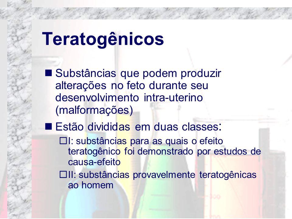Teratogênicos Substâncias que podem produzir alterações no feto durante seu desenvolvimento intra-uterino (malformações) Estão divididas em duas class