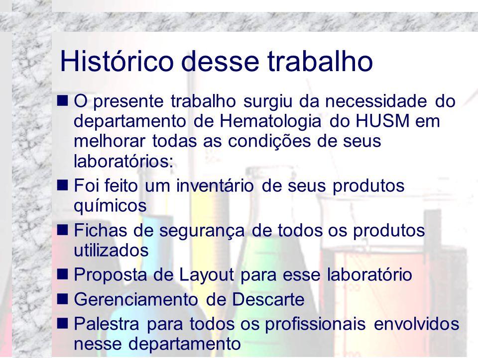 O presente trabalho surgiu da necessidade do departamento de Hematologia do HUSM em melhorar todas as condições de seus laboratórios: Foi feito um inv