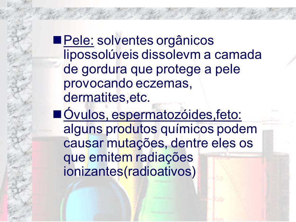Pele: solventes orgânicos lipossolúveis dissolevm a camada de gordura que protege a pele provocando eczemas, dermatites,etc. Óvulos, espermatozóides,f