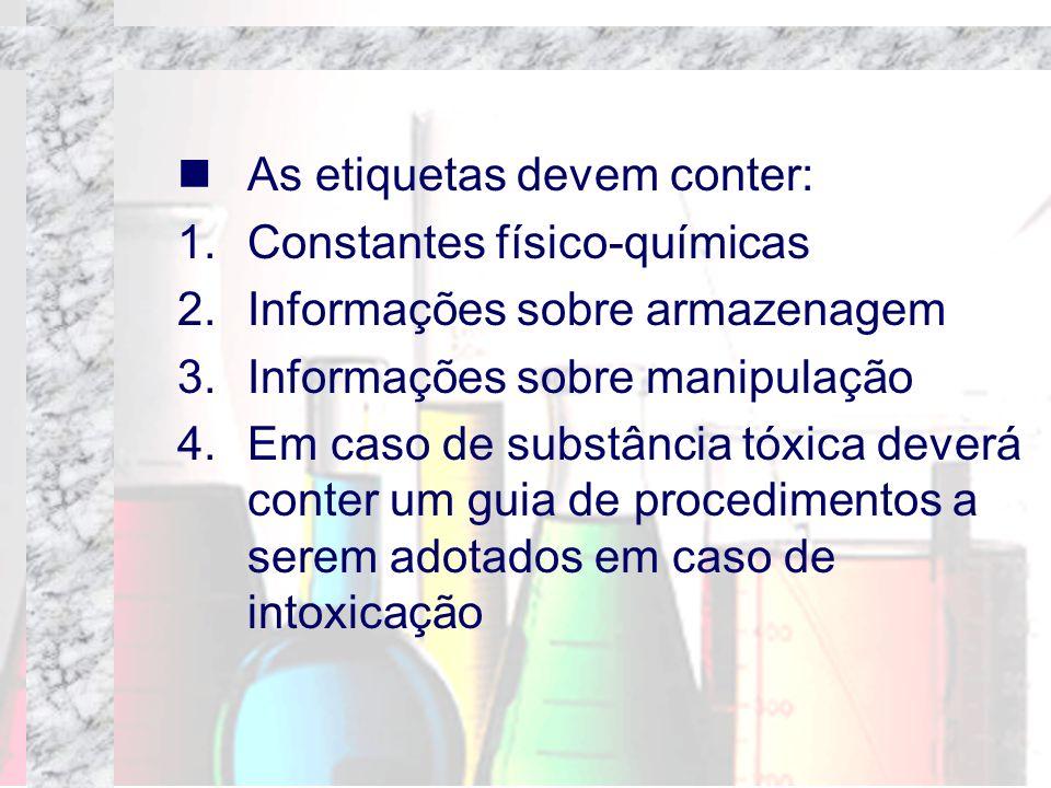 As etiquetas devem conter: 1.Constantes físico-químicas 2.Informações sobre armazenagem 3.Informações sobre manipulação 4.Em caso de substância tóxica