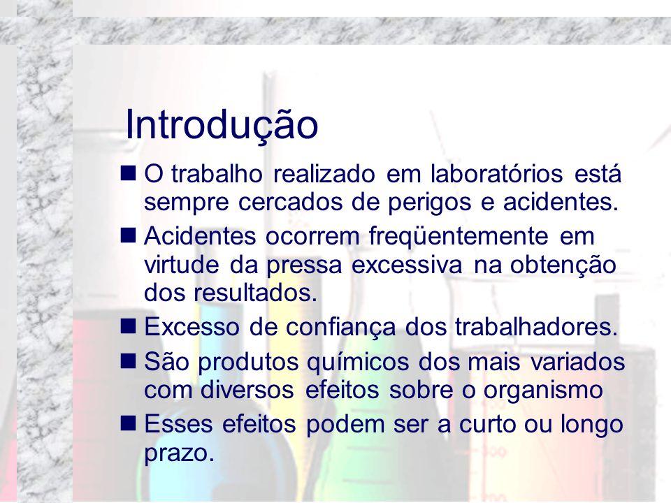 Introdução O trabalho realizado em laboratórios está sempre cercados de perigos e acidentes. Acidentes ocorrem freqüentemente em virtude da pressa exc