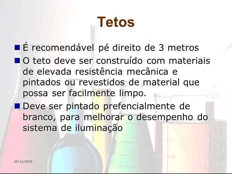 25/11/2003 Tetos É recomendável pé direito de 3 metros É recomendável pé direito de 3 metros O teto deve ser construído com materiais de elevada resis