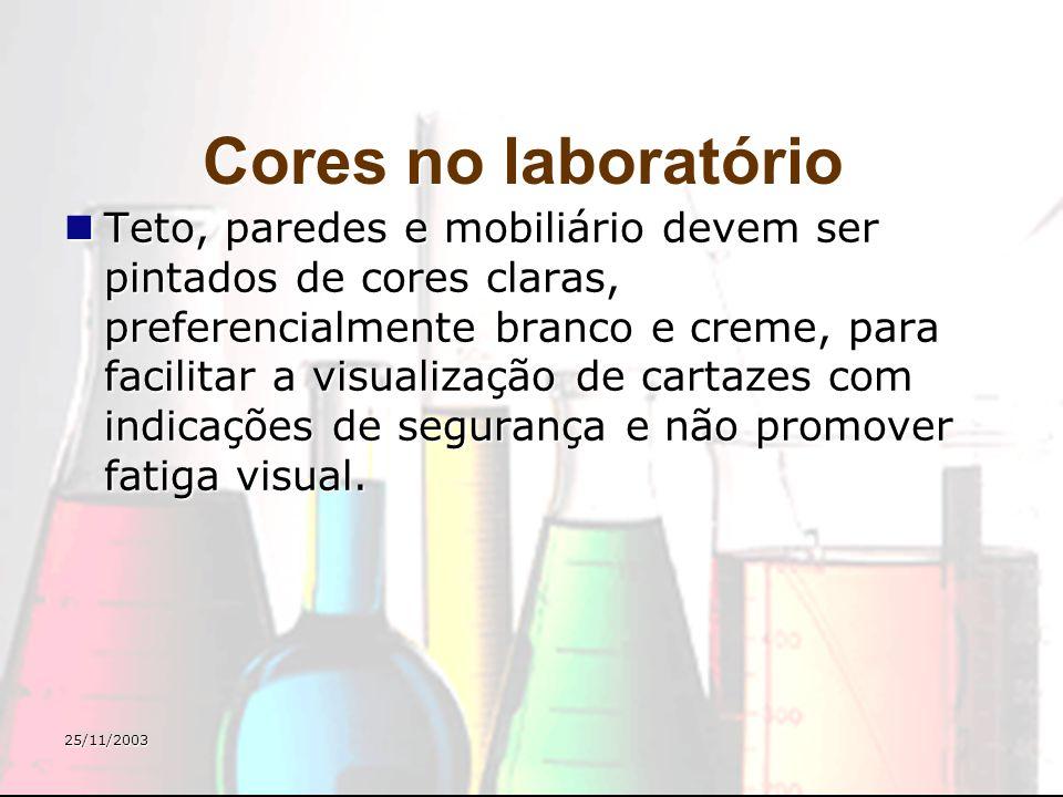 25/11/2003 Cores no laboratório Teto, paredes e mobiliário devem ser pintados de cores claras, preferencialmente branco e creme, para facilitar a visu