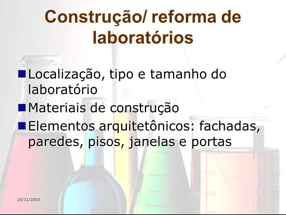 25/11/2003 Construção/ reforma de laboratórios Localização, tipo e tamanho do laboratório Localização, tipo e tamanho do laboratório Materiais de cons