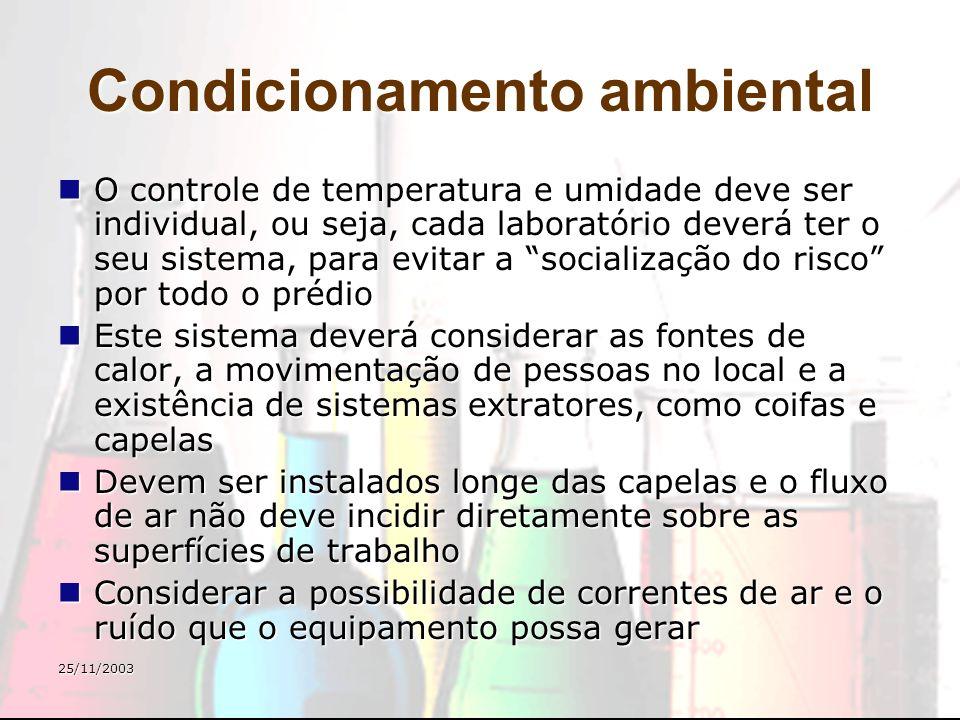 25/11/2003 Condicionamento ambiental O controle de temperatura e umidade deve ser individual, ou seja, cada laboratório deverá ter o seu sistema, para