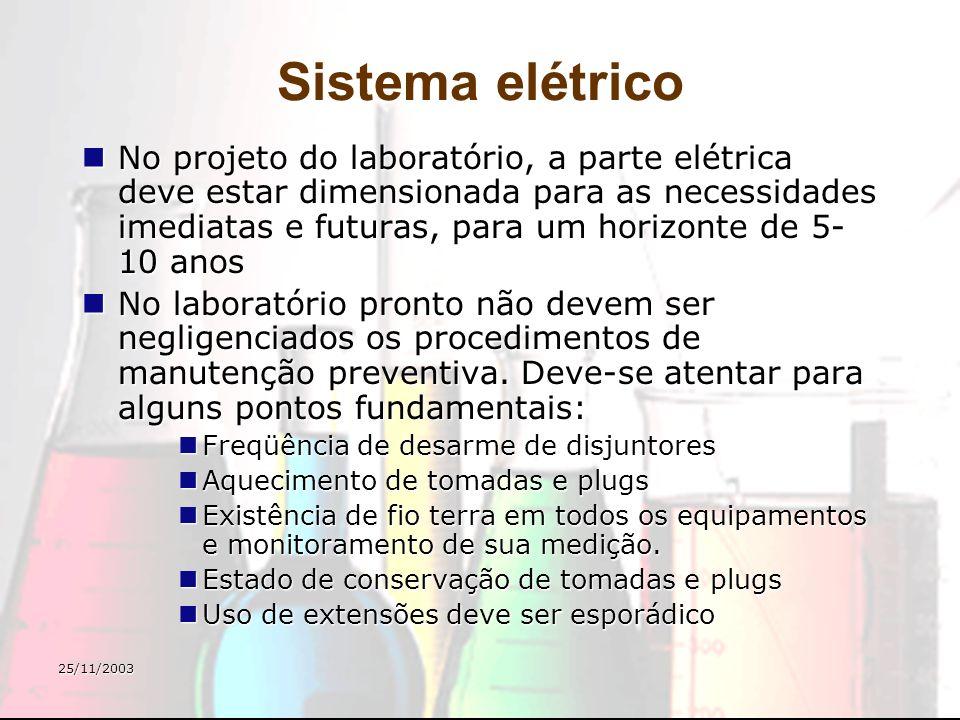 25/11/2003 Sistema elétrico No projeto do laboratório, a parte elétrica deve estar dimensionada para as necessidades imediatas e futuras, para um hori