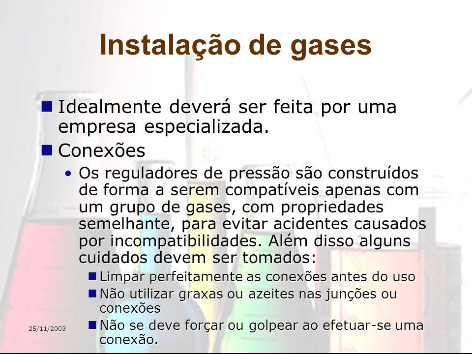 25/11/2003 Instalação de gases Idealmente deverá ser feita por uma empresa especializada. Idealmente deverá ser feita por uma empresa especializada. C