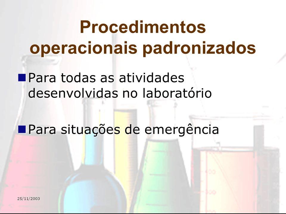25/11/2003 Procedimentos operacionais padronizados Para todas as atividades desenvolvidas no laboratório Para todas as atividades desenvolvidas no lab