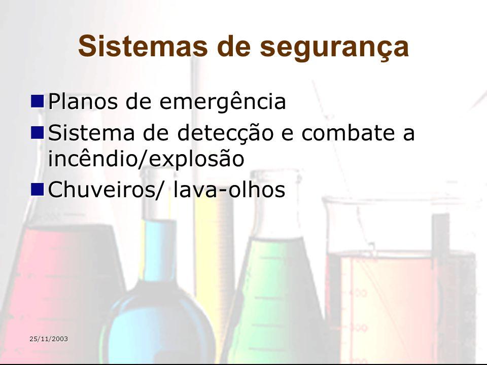 25/11/2003 Sistemas de segurança Planos de emergência Planos de emergência Sistema de detecção e combate a incêndio/explosão Sistema de detecção e com