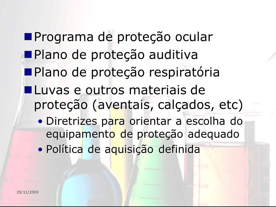 25/11/2003 Programa de proteção ocular Programa de proteção ocular Plano de proteção auditiva Plano de proteção auditiva Plano de proteção respiratóri
