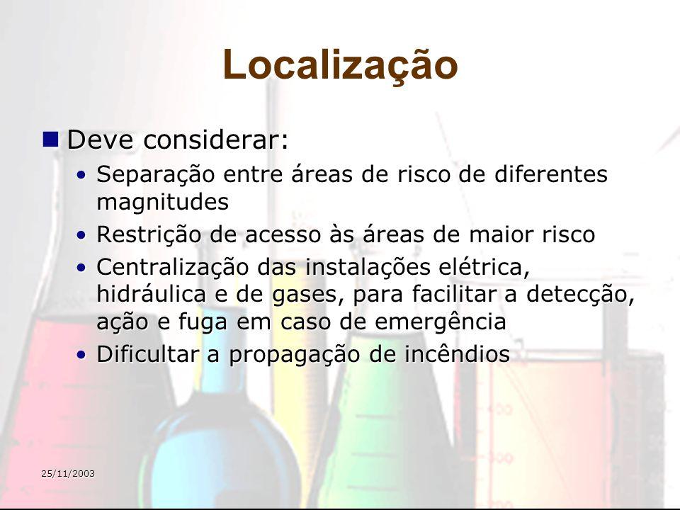 25/11/2003 Localização Deve considerar: Deve considerar: Separação entre áreas de risco de diferentes magnitudesSeparação entre áreas de risco de dife